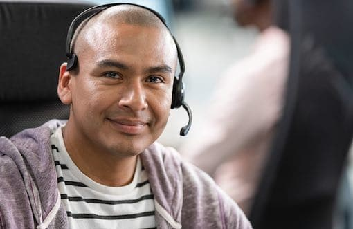 BPO male agent with headset